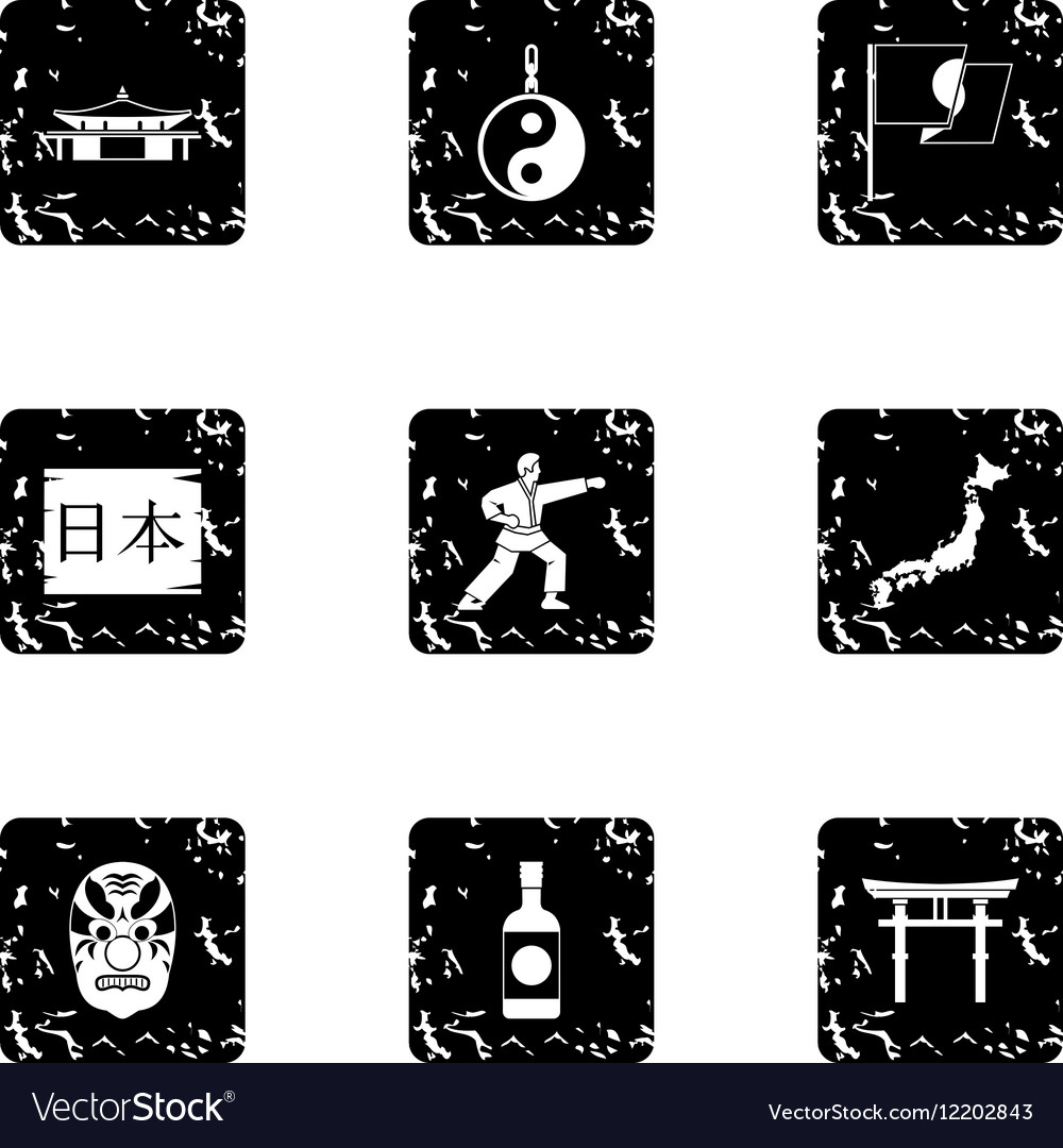 Country japan icons set grunge style vector