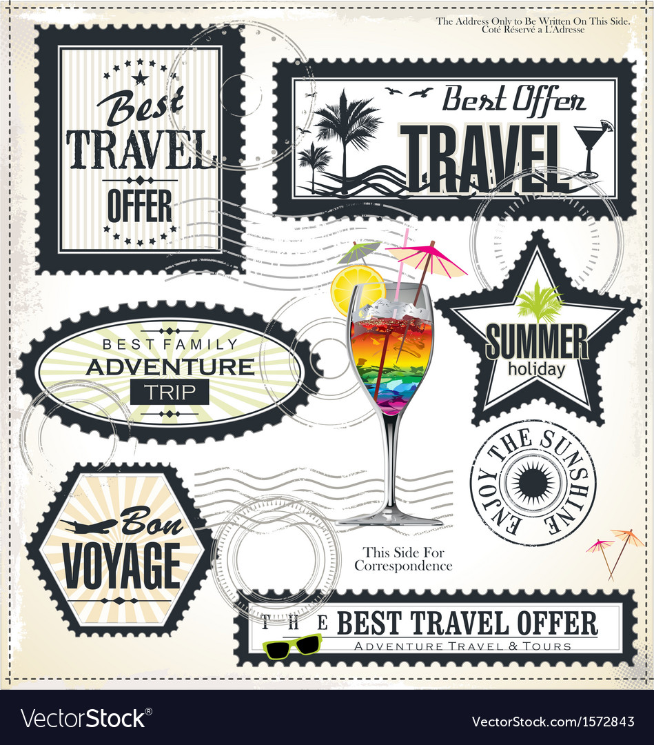 Travel and vacation post stamp set vector
