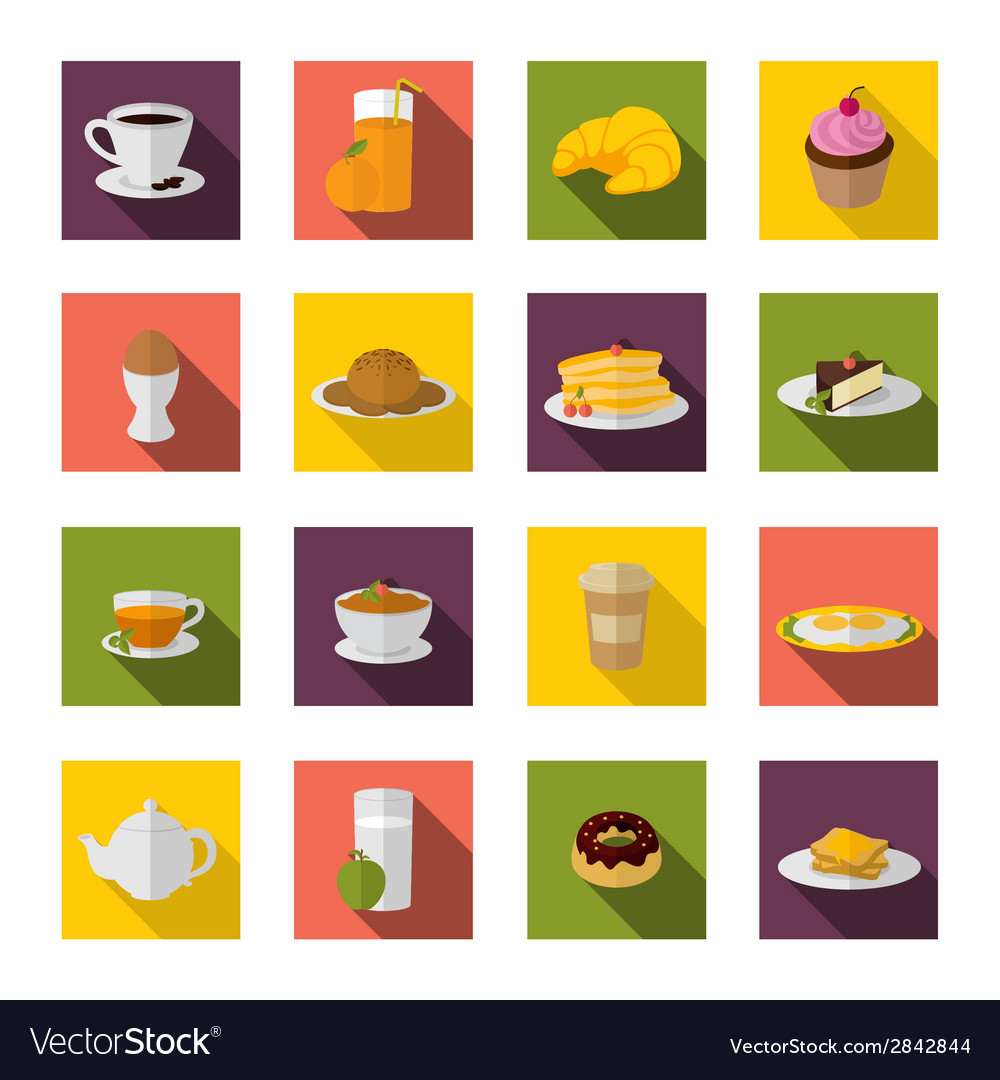 Breakfast icons flat vector