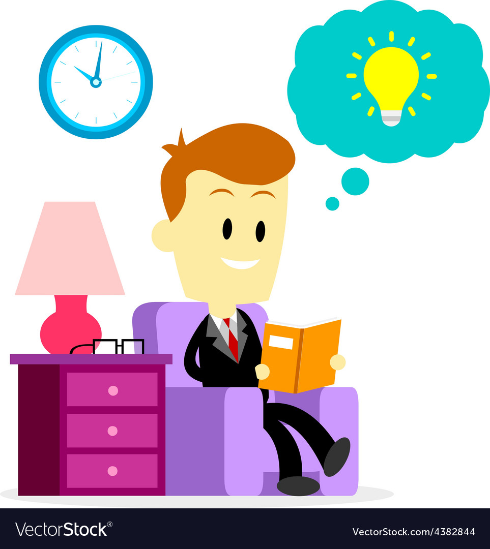Businessman reading a book to improve skills vector