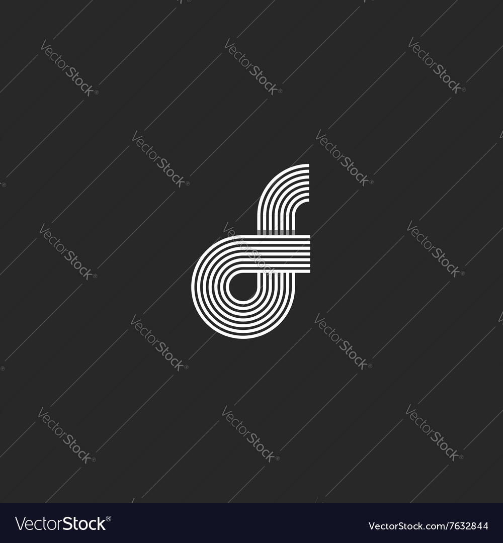 Combination letter fo logo pair o f offset line vector
