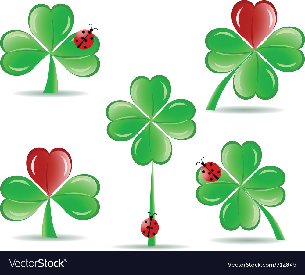 Set of shamrocks vector
