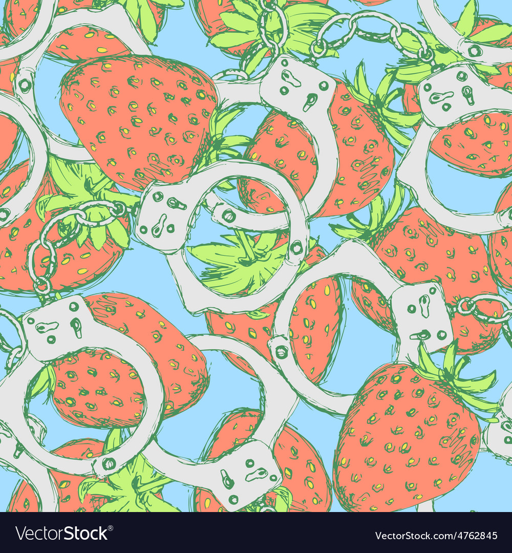 Sketch handcuffs and strawberry in vintage style vector