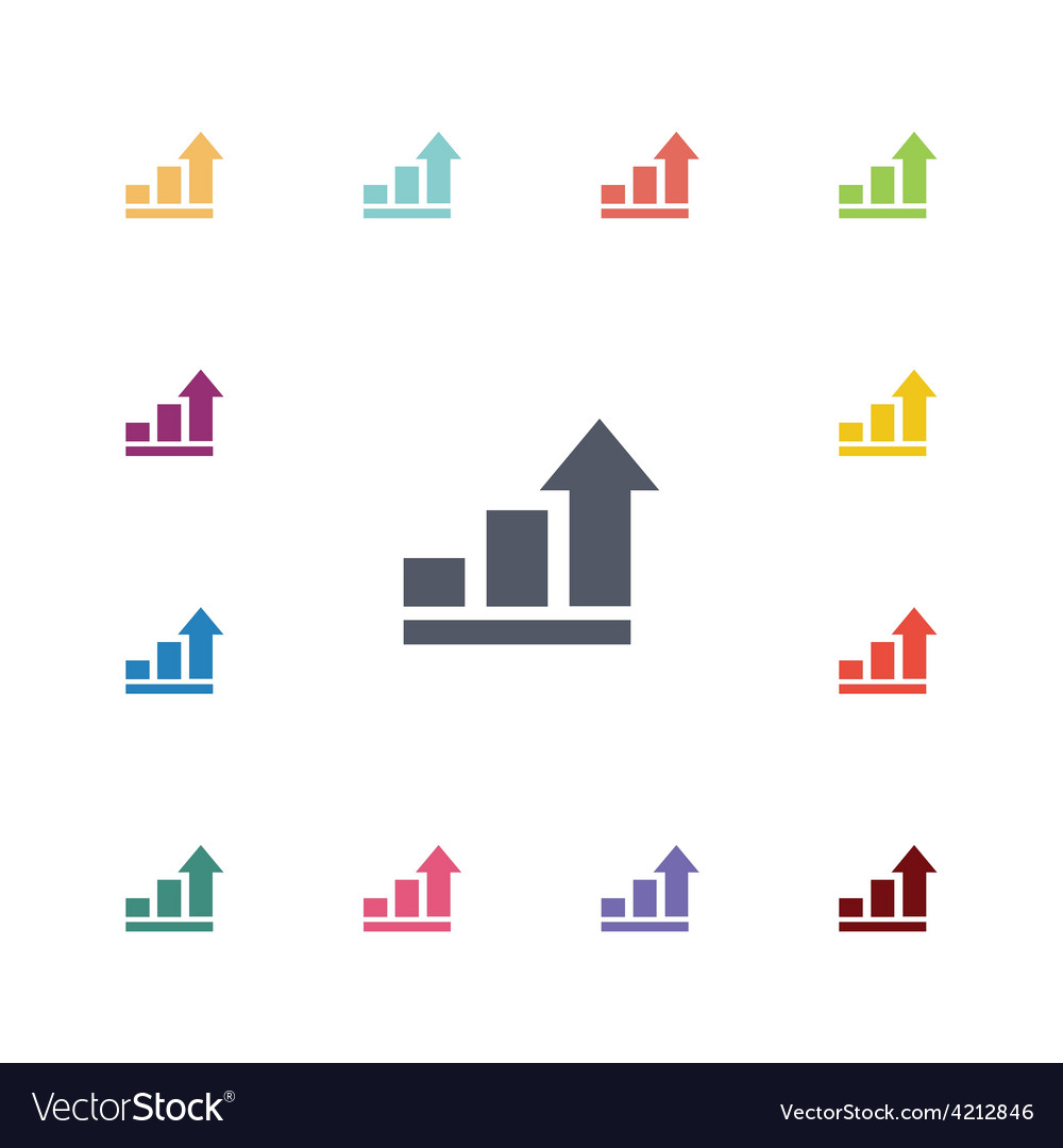Arrows up diagram flat icons set vector