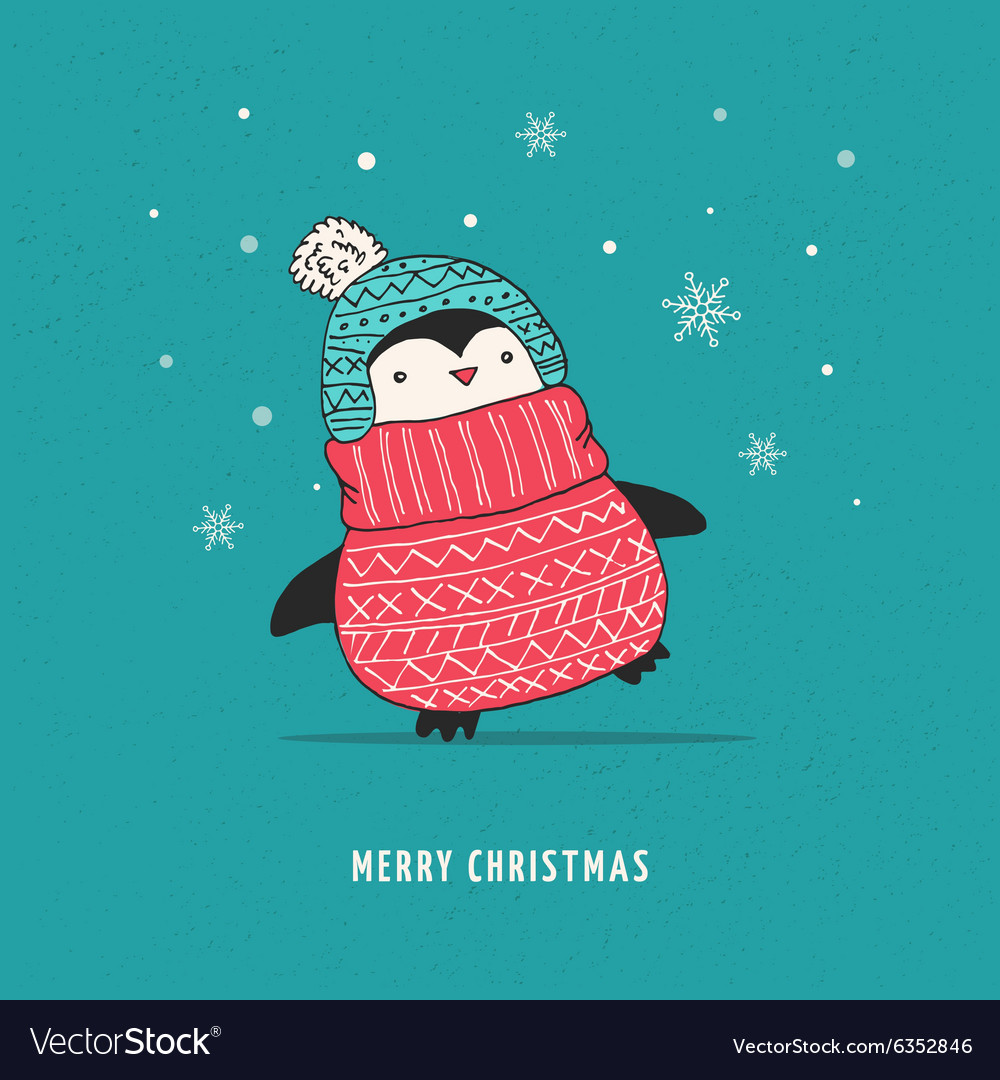 Cute happy penguin  merry christmas greetings vector