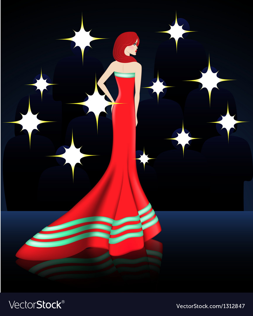 Lady in elegant red long dress vector
