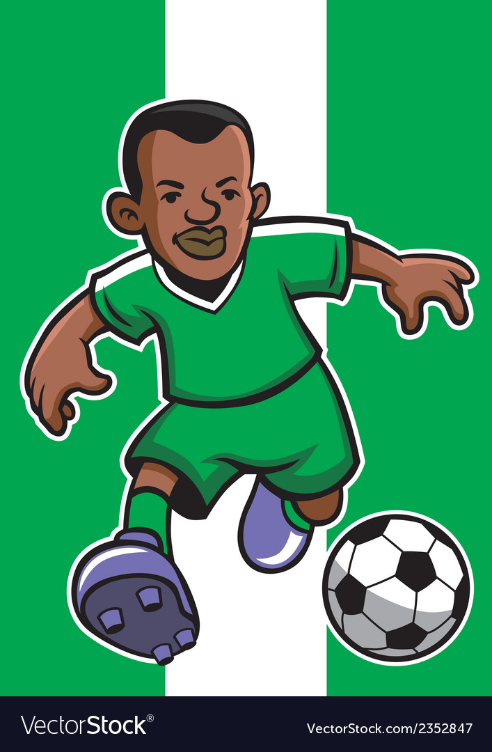 Nigeria soccer player with flag background vector