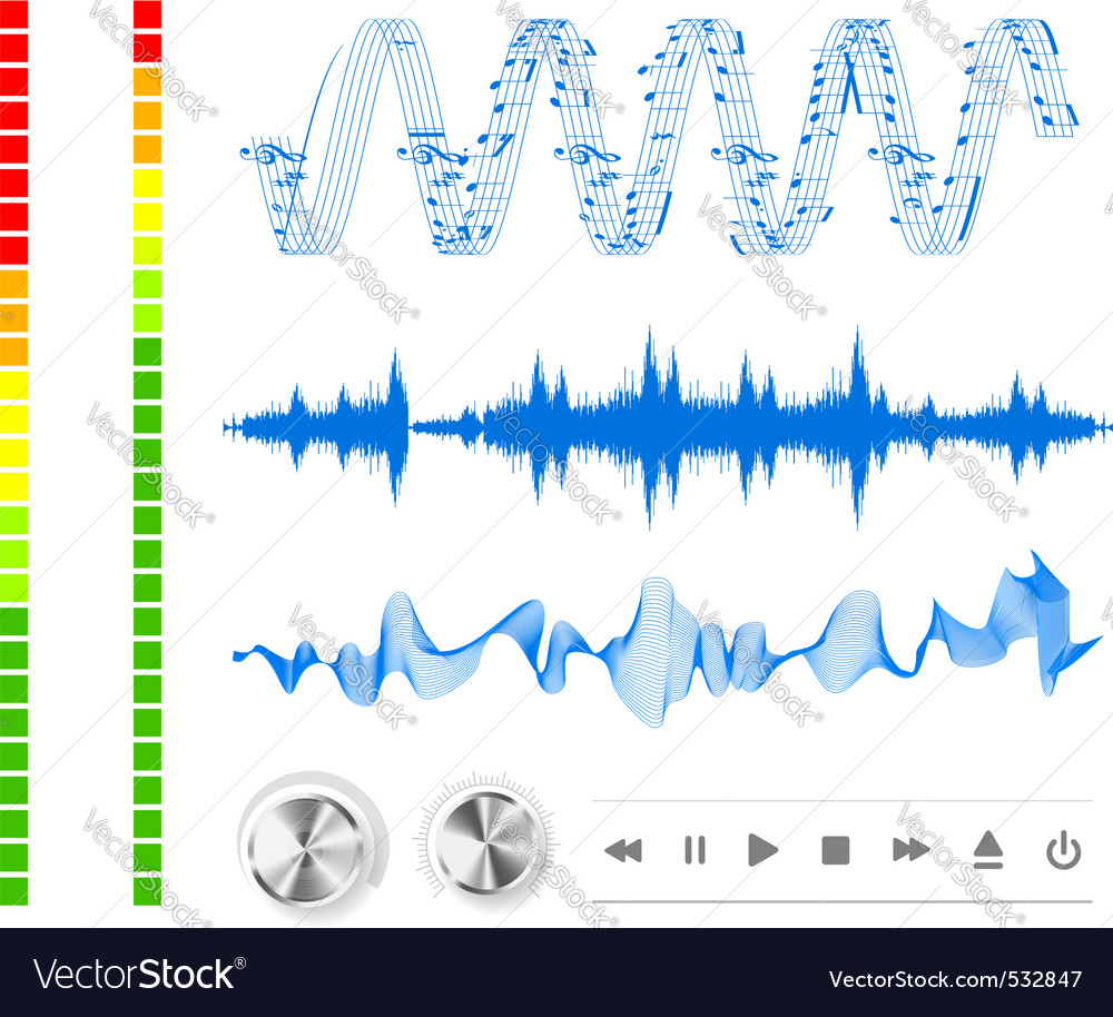 Notes buttons and sound waves vector