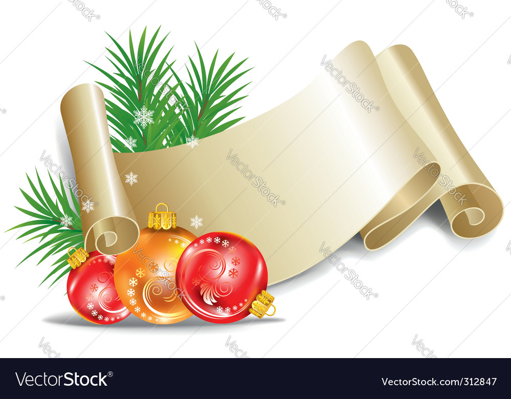 Old scroll for christmas invitation vector