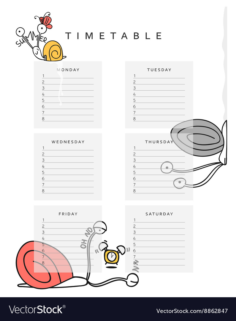 School schedules timetable with a funny snail vector