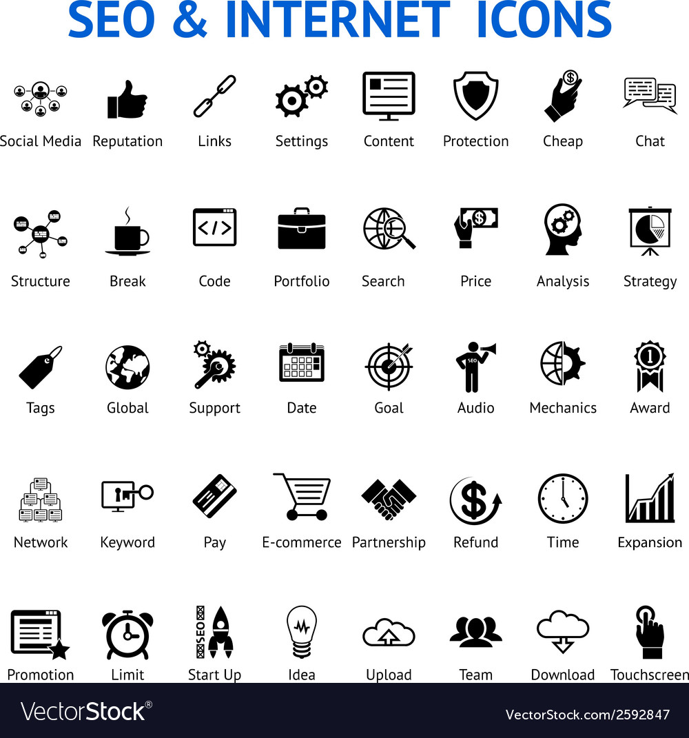 Set of silhouetted seo and internet icons vector