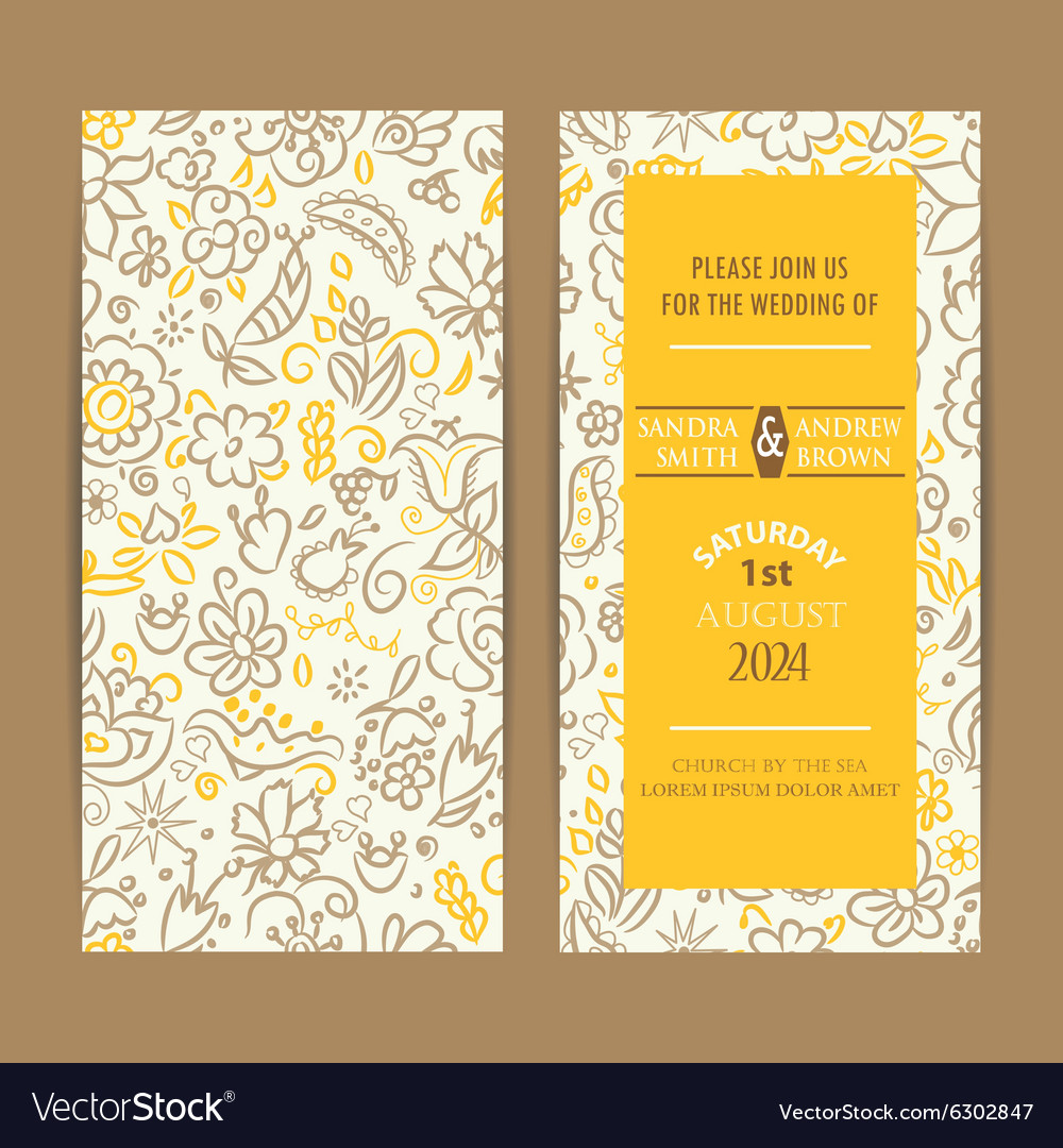 Wedding double invitation with hand drawn flowers vector