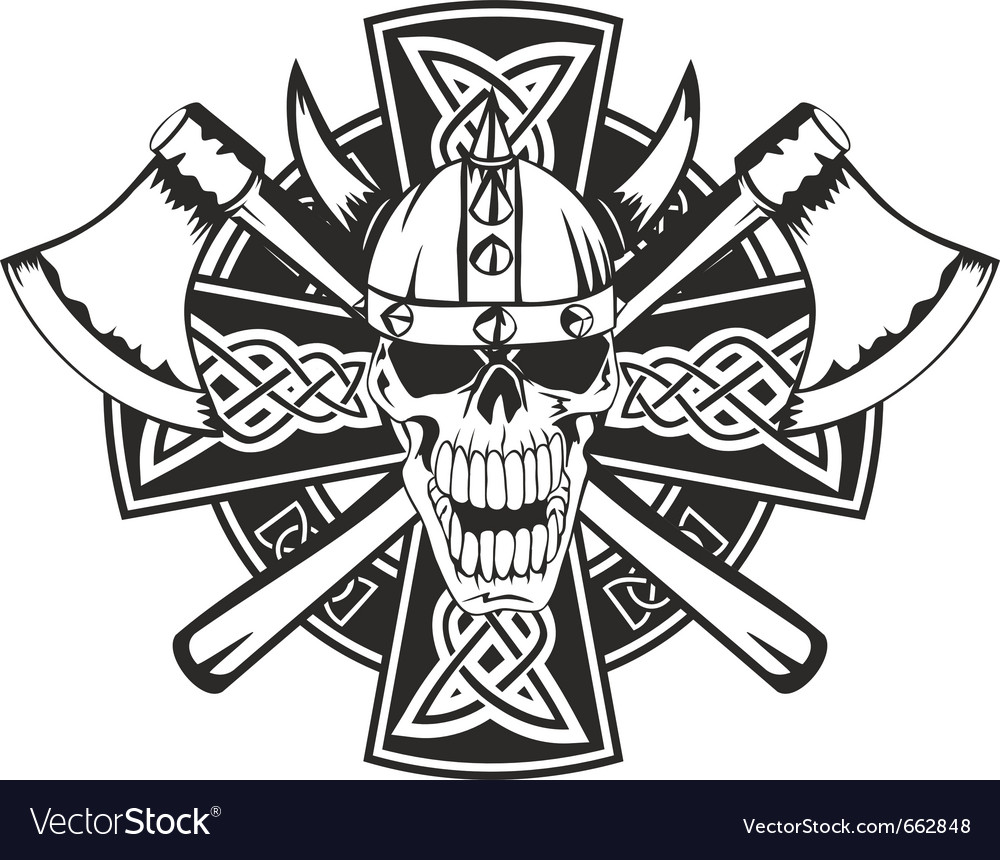 Celtic cross and skull vector