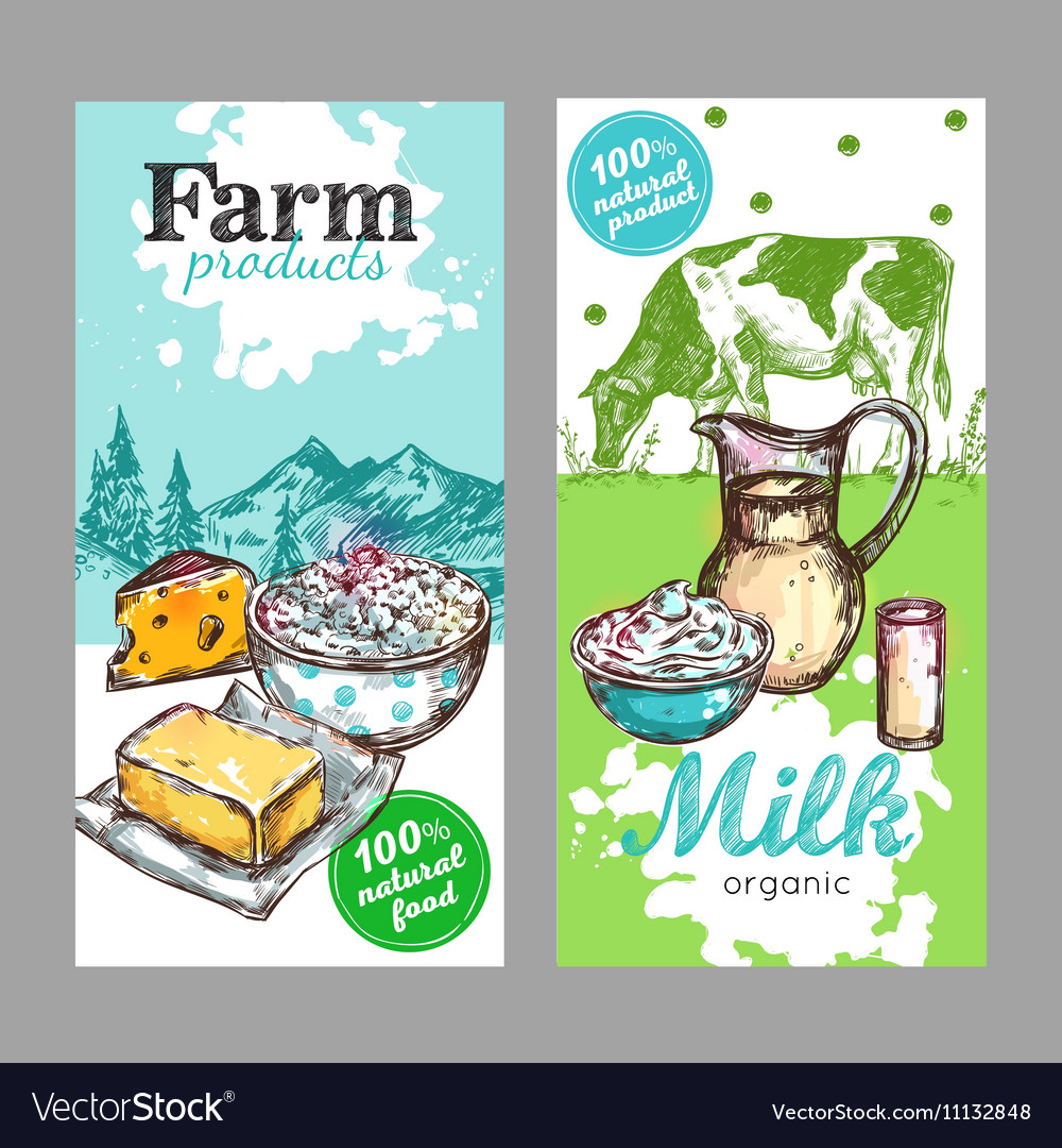 Farm products milk banner set vector