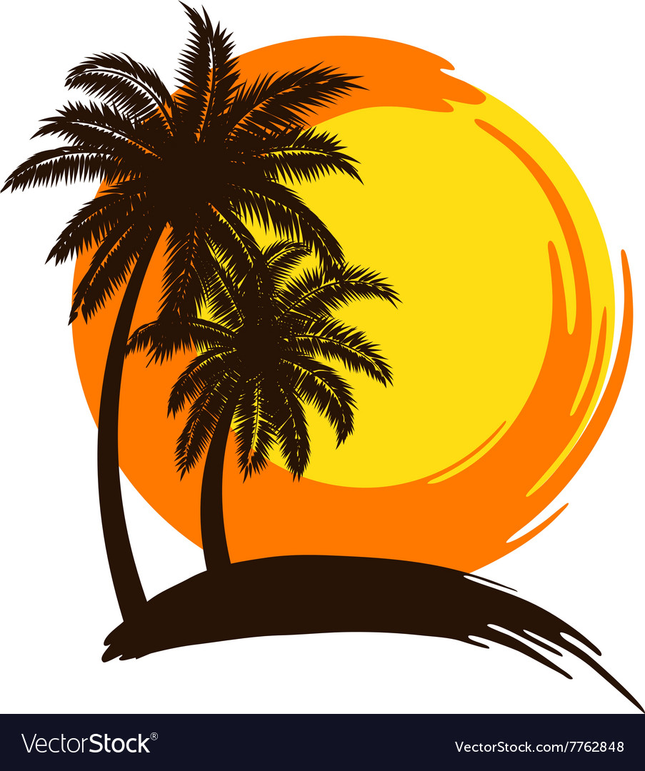 Plam tree sunset vector