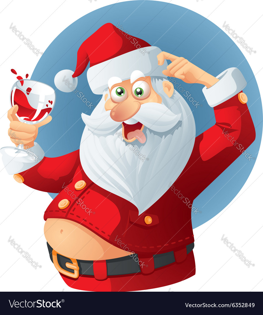 Drunk santa claus cartoon vector