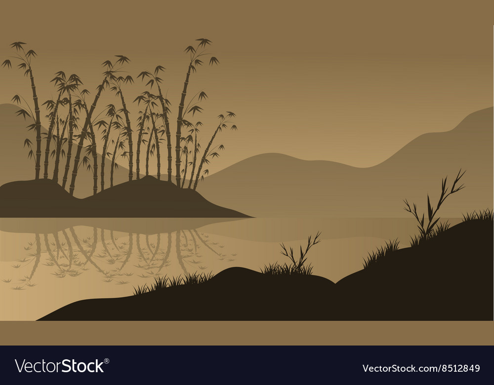 Landscape with bamboo silhouette vector