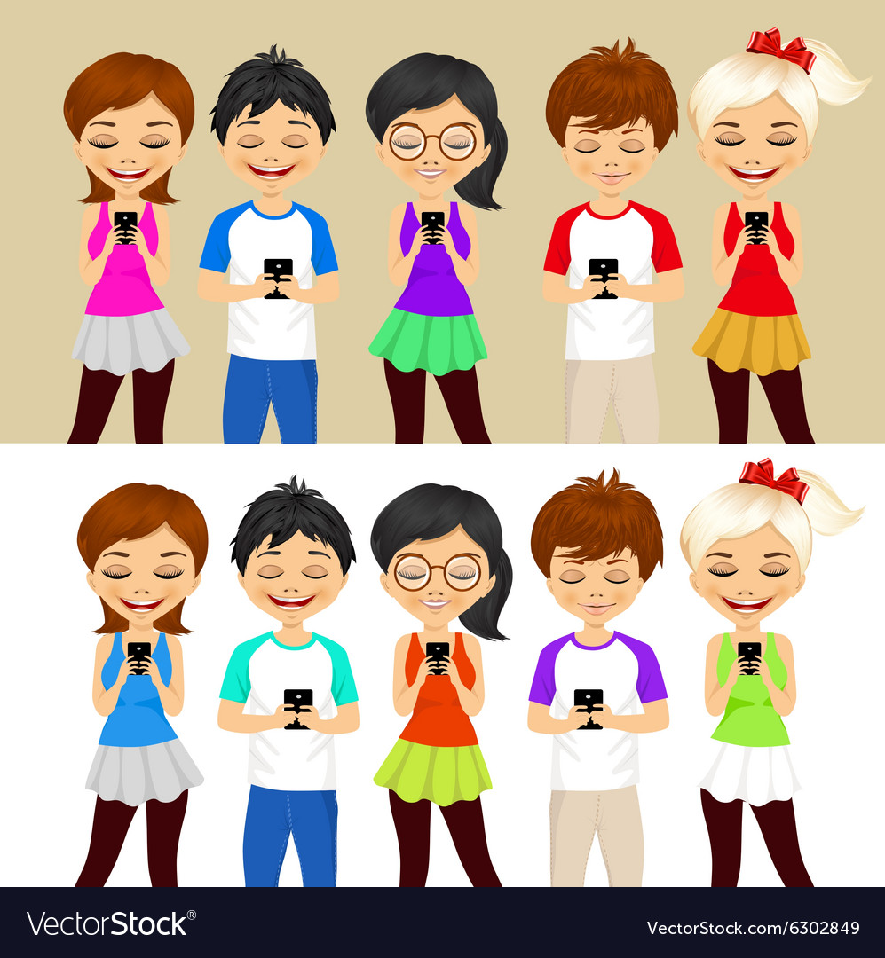 Young people using mobile phones vector