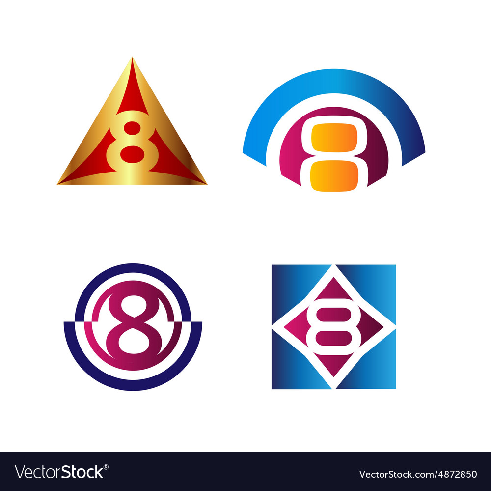 8 number seven logo symbol icon graphic flat vector