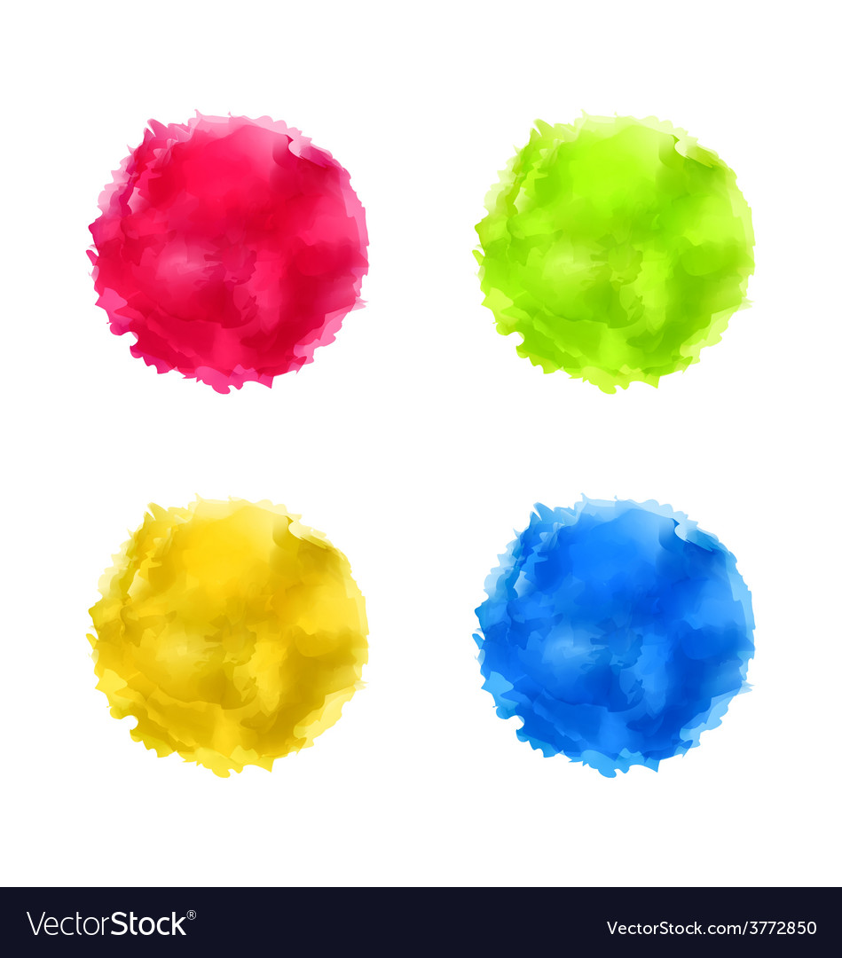 Set abstract watercolor splash colorful paint vector