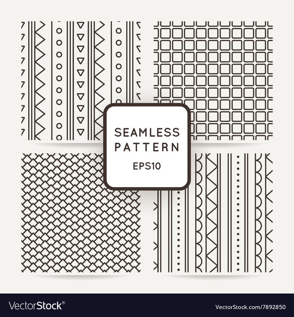 Set of four geometric seamless pattern vector