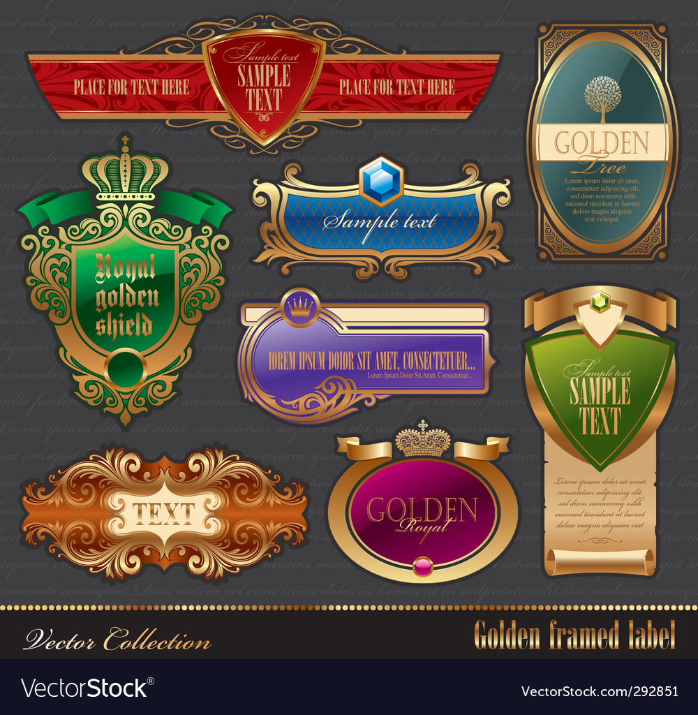 Set of golden luxury frame vector