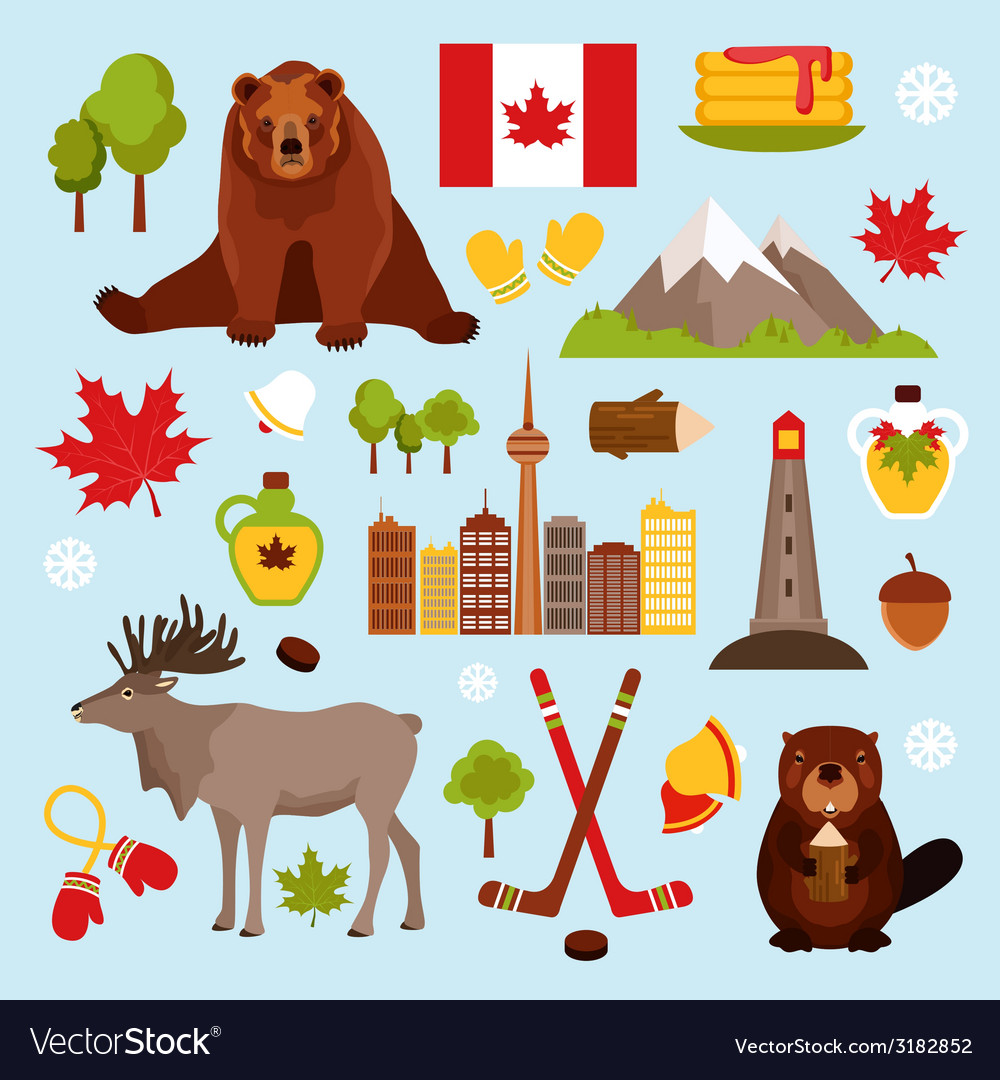 Canada decorative set vector