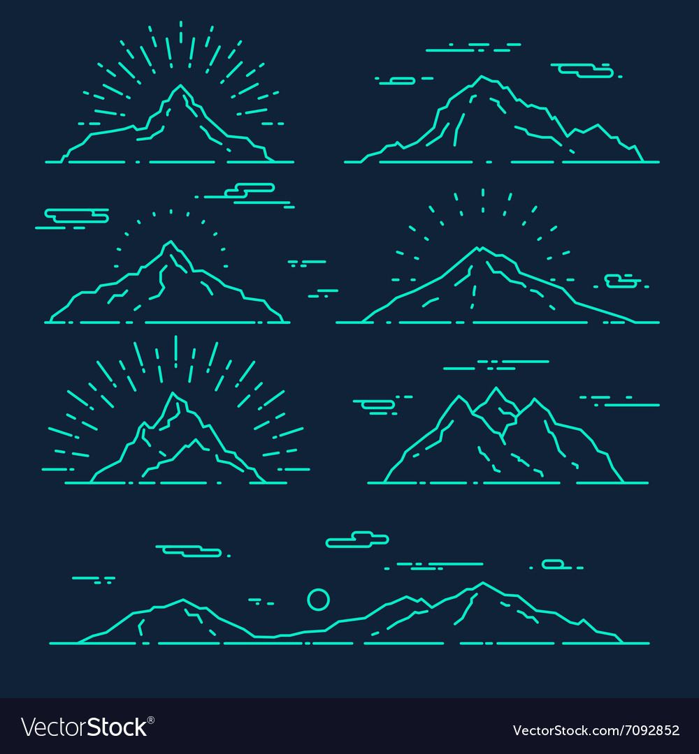 Set mountains linear style vector