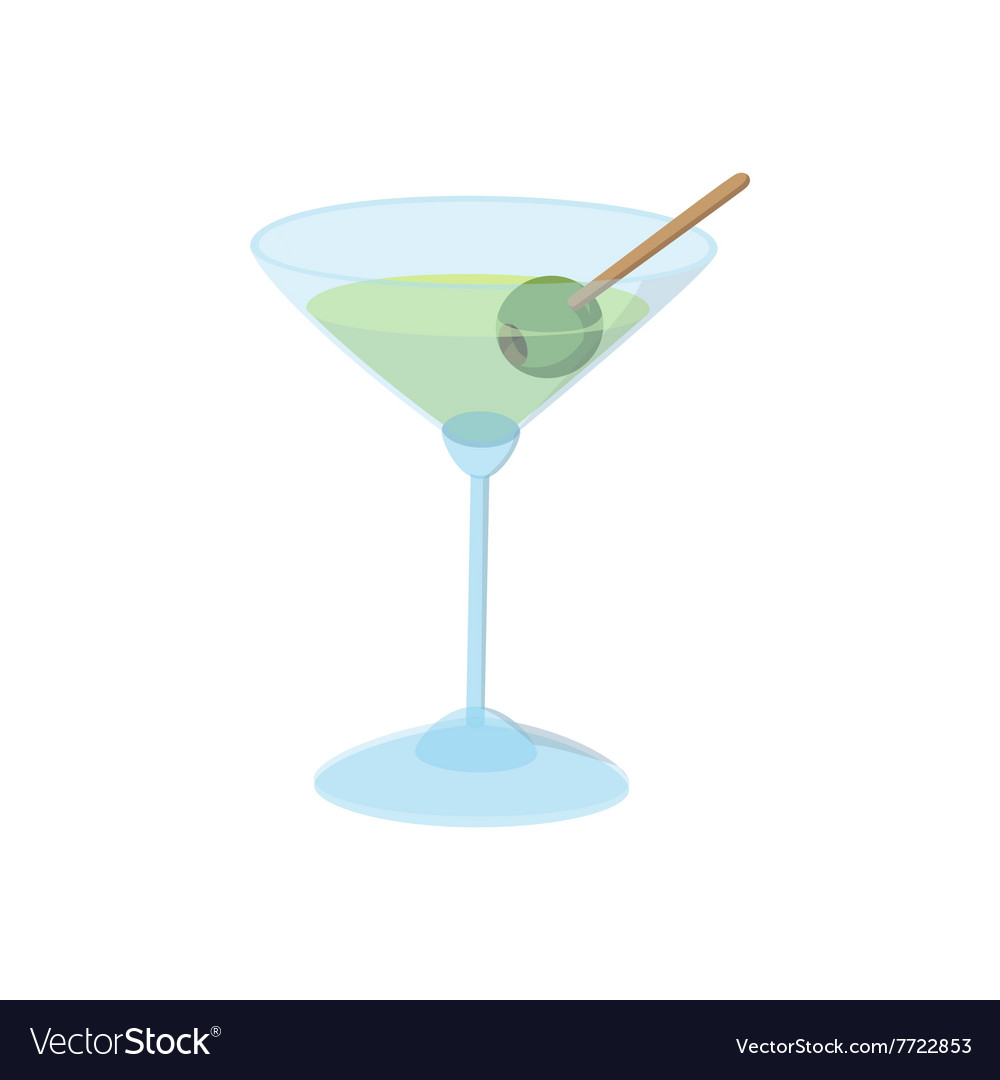 Cocktail with green olive icon cartoon style vector