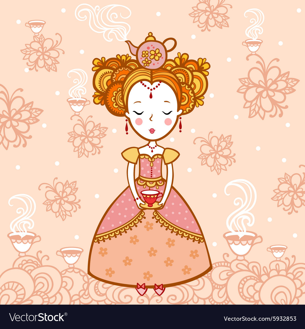 Young woman with a cup of tea and teapot vector