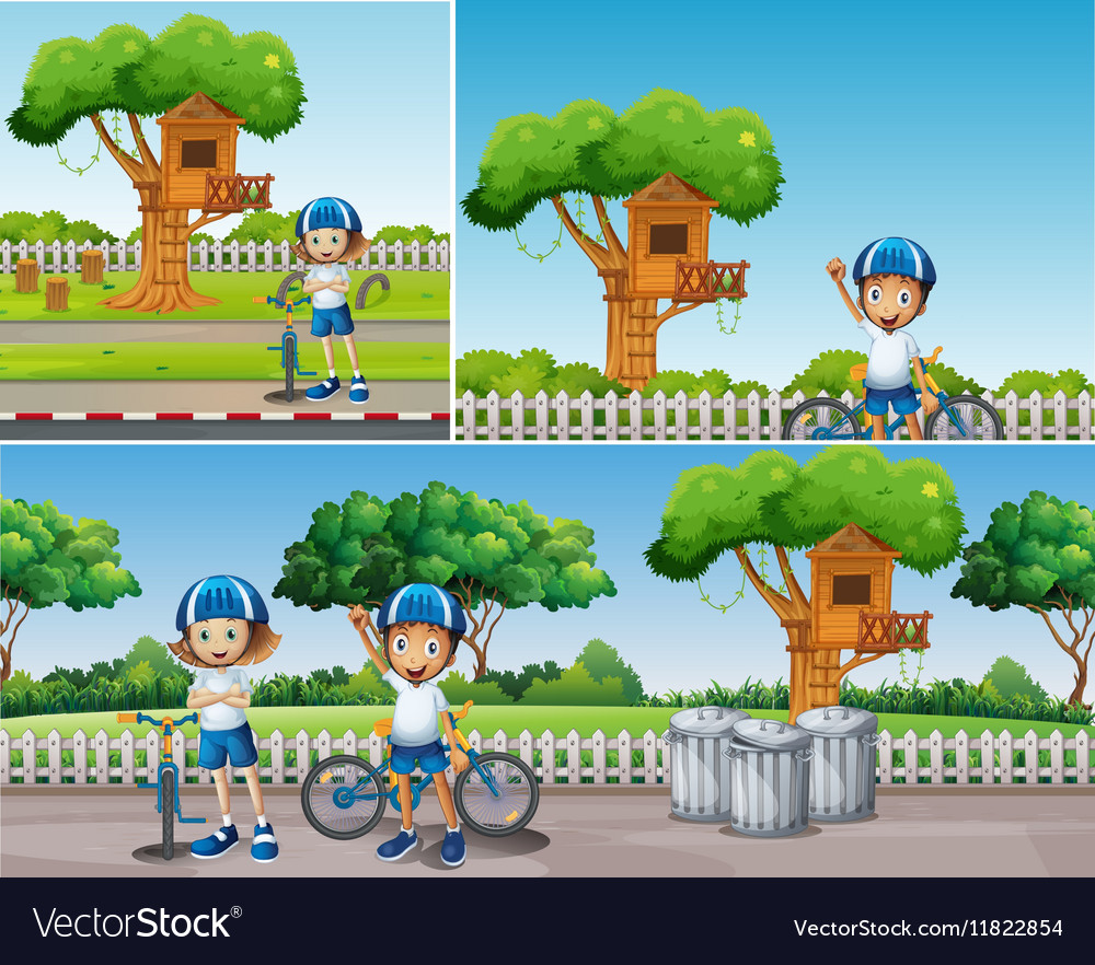Kids riding bike in the park vector