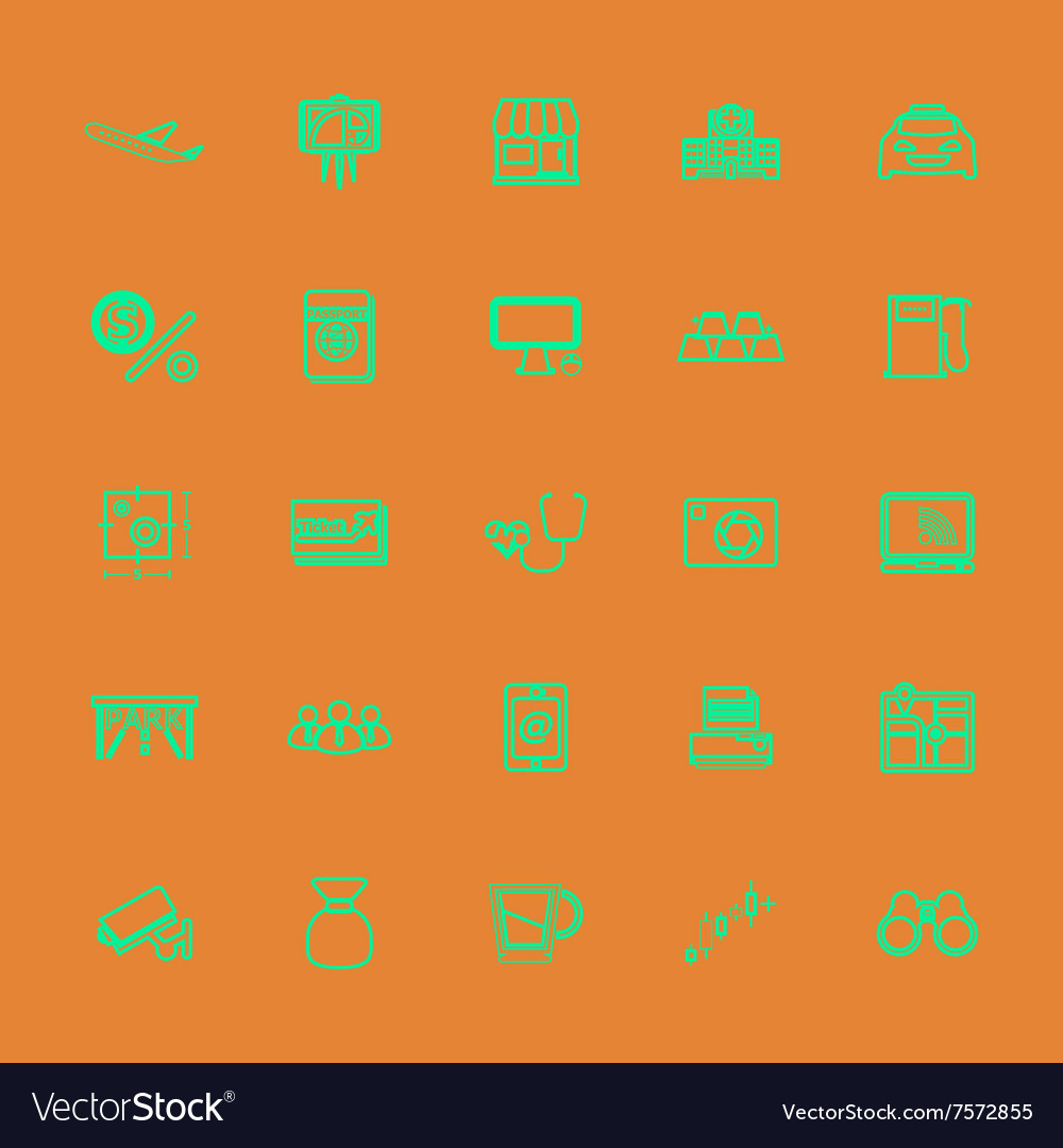 Application line green color icons vector