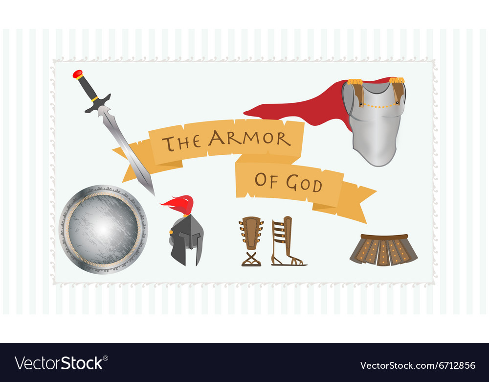 Armor of god christianity message protestant vector