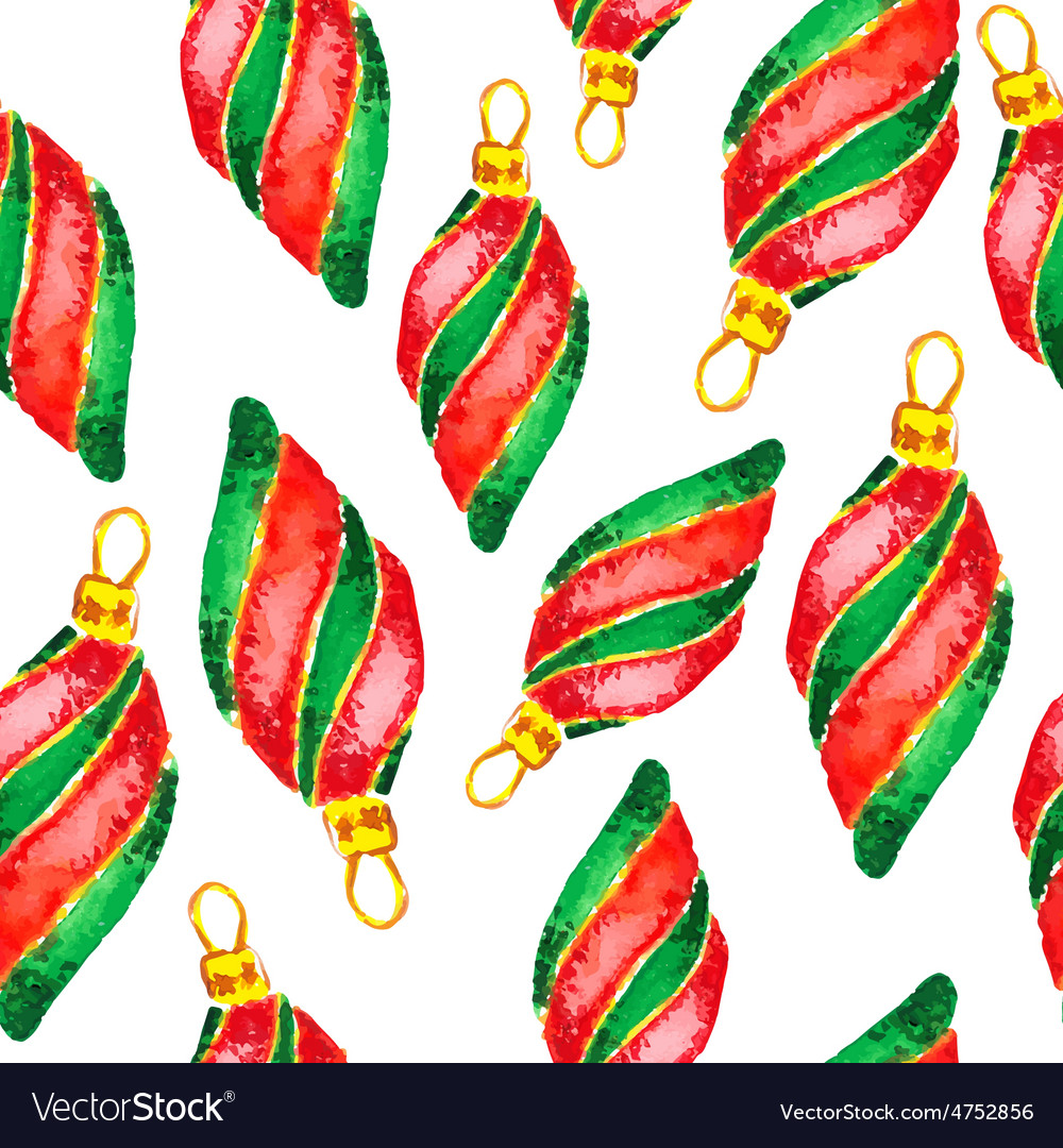 Watercolor christmas and new year decorations vector