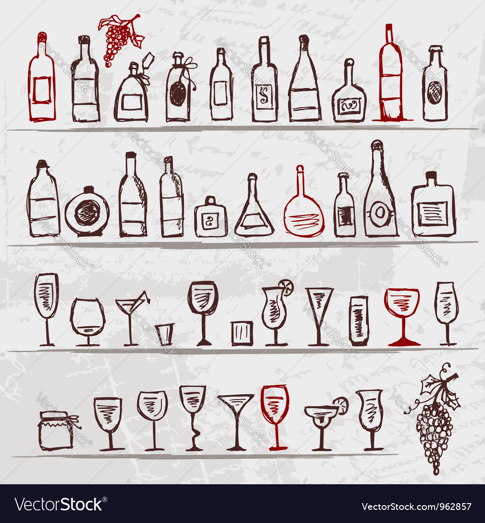 Set of alcohols bottles and wineglasses on grunge vector