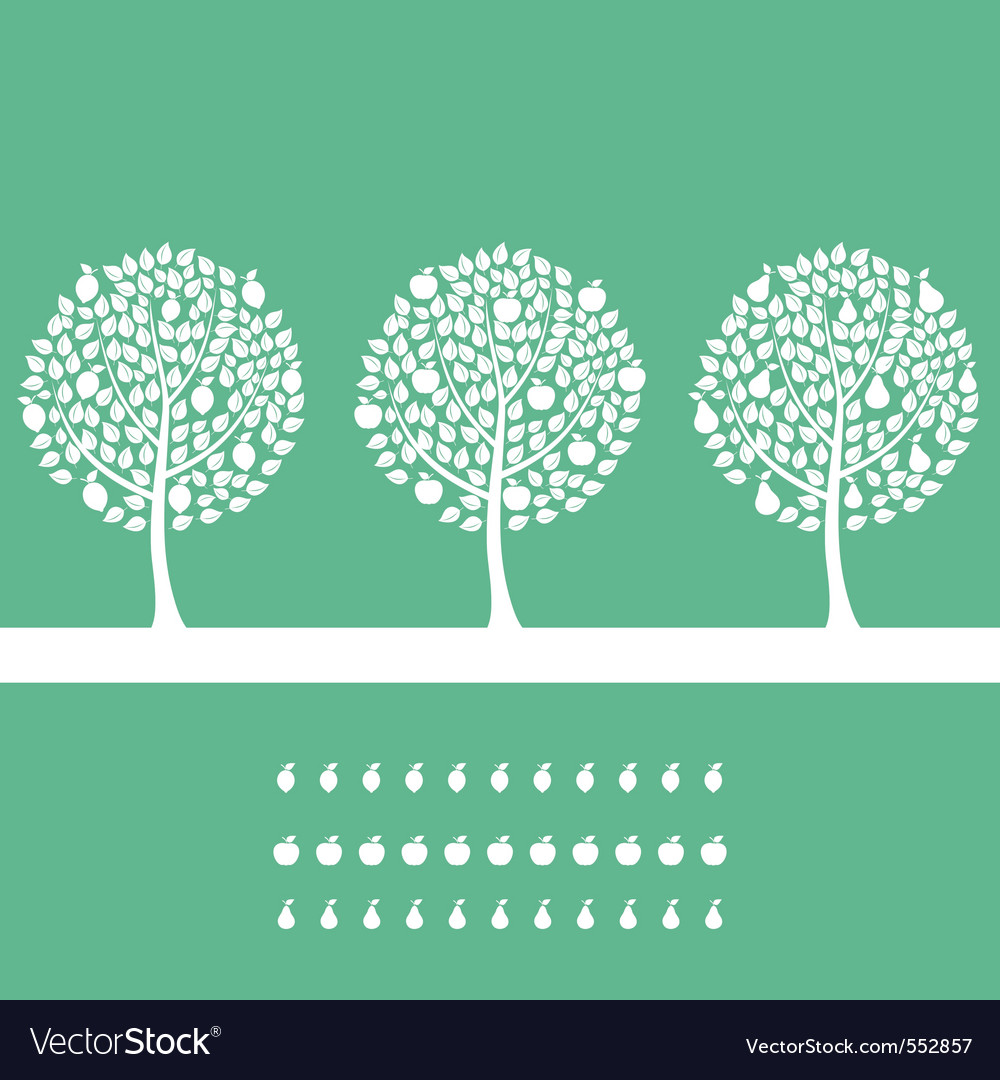 Three trees on a green background a illustr vector