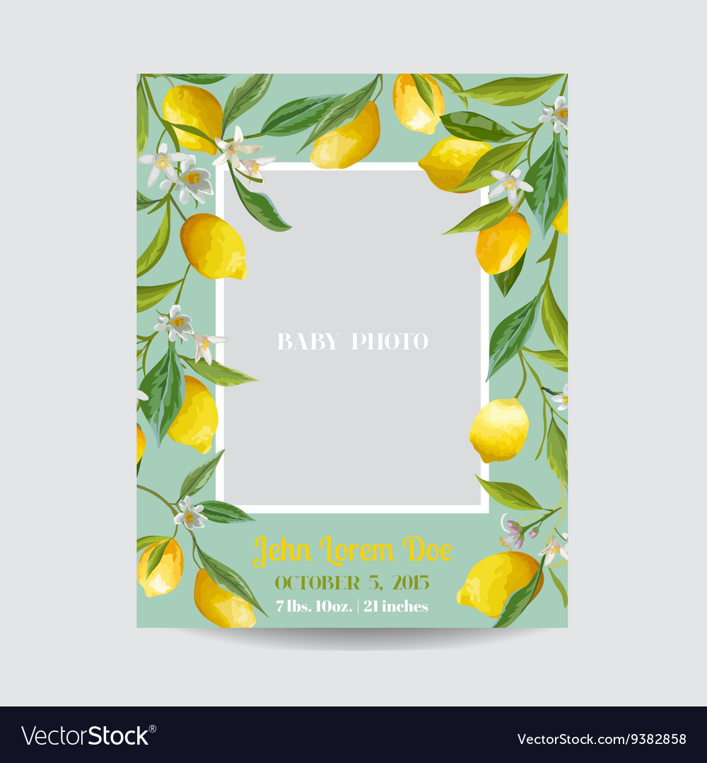 Baby arrival card with photo frame  lemon flowers vector