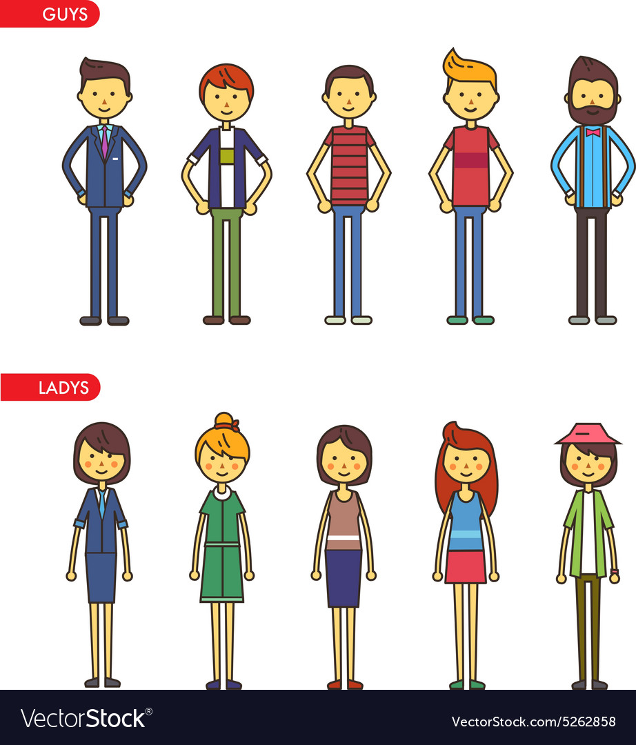 Casual set characters for use in design vector