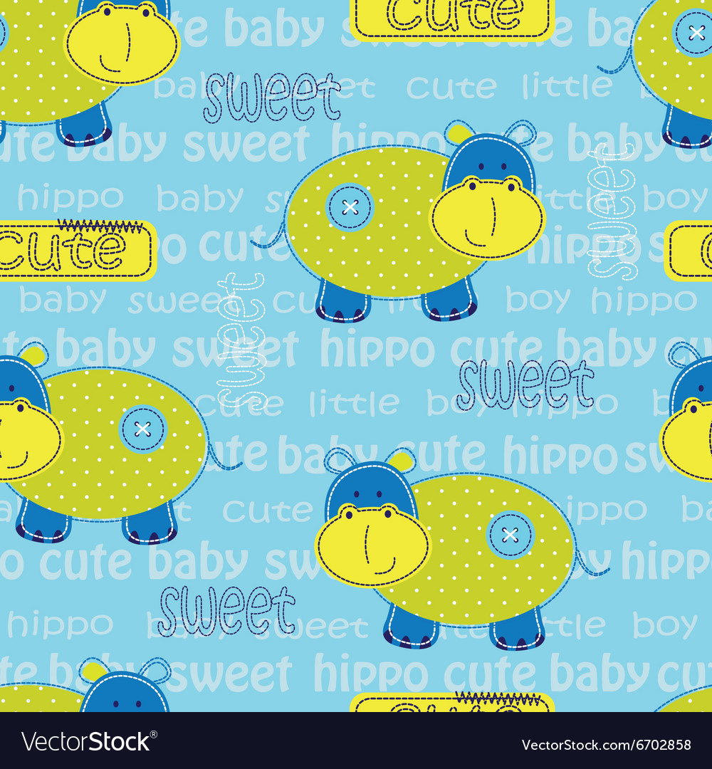 Seamless pattern with cute hippo and lattering vector