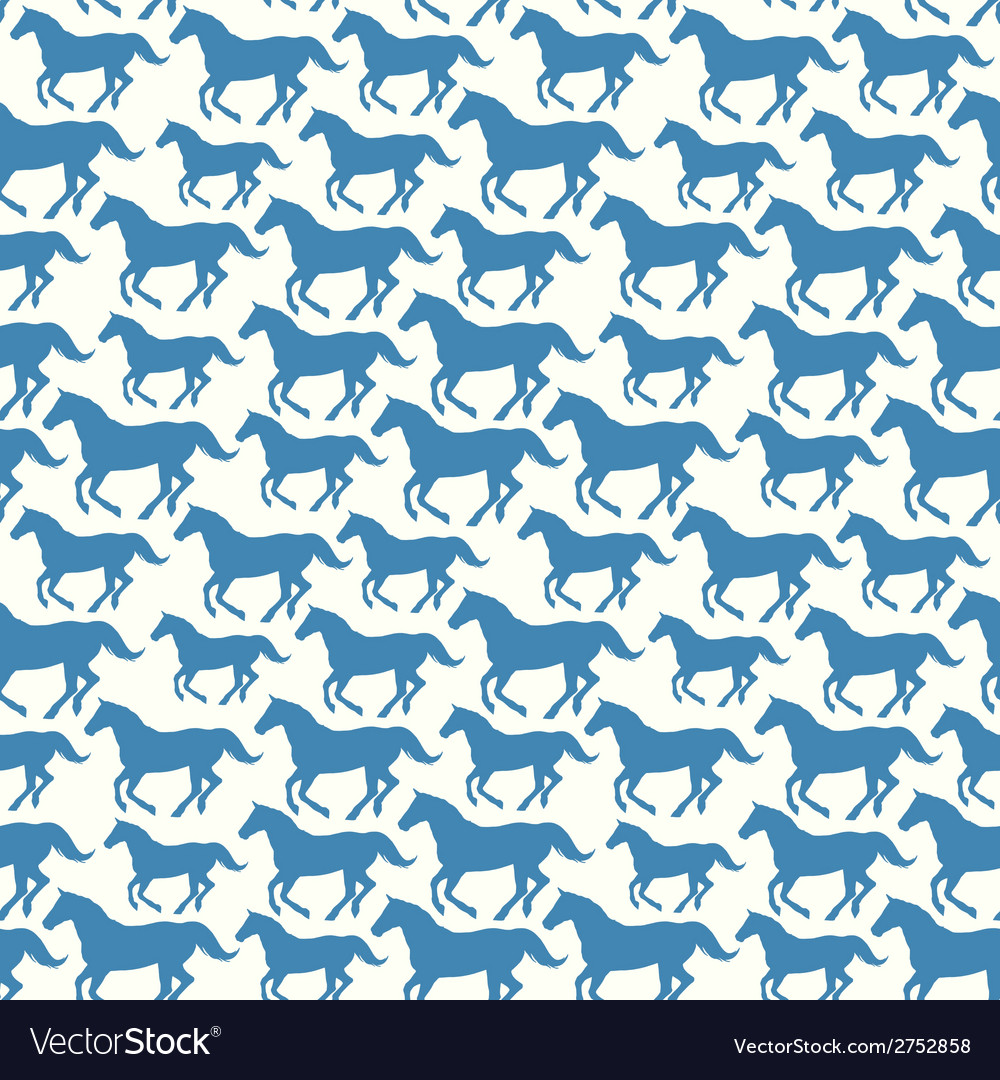 Seamless pattern with stylized silhouette horses vector