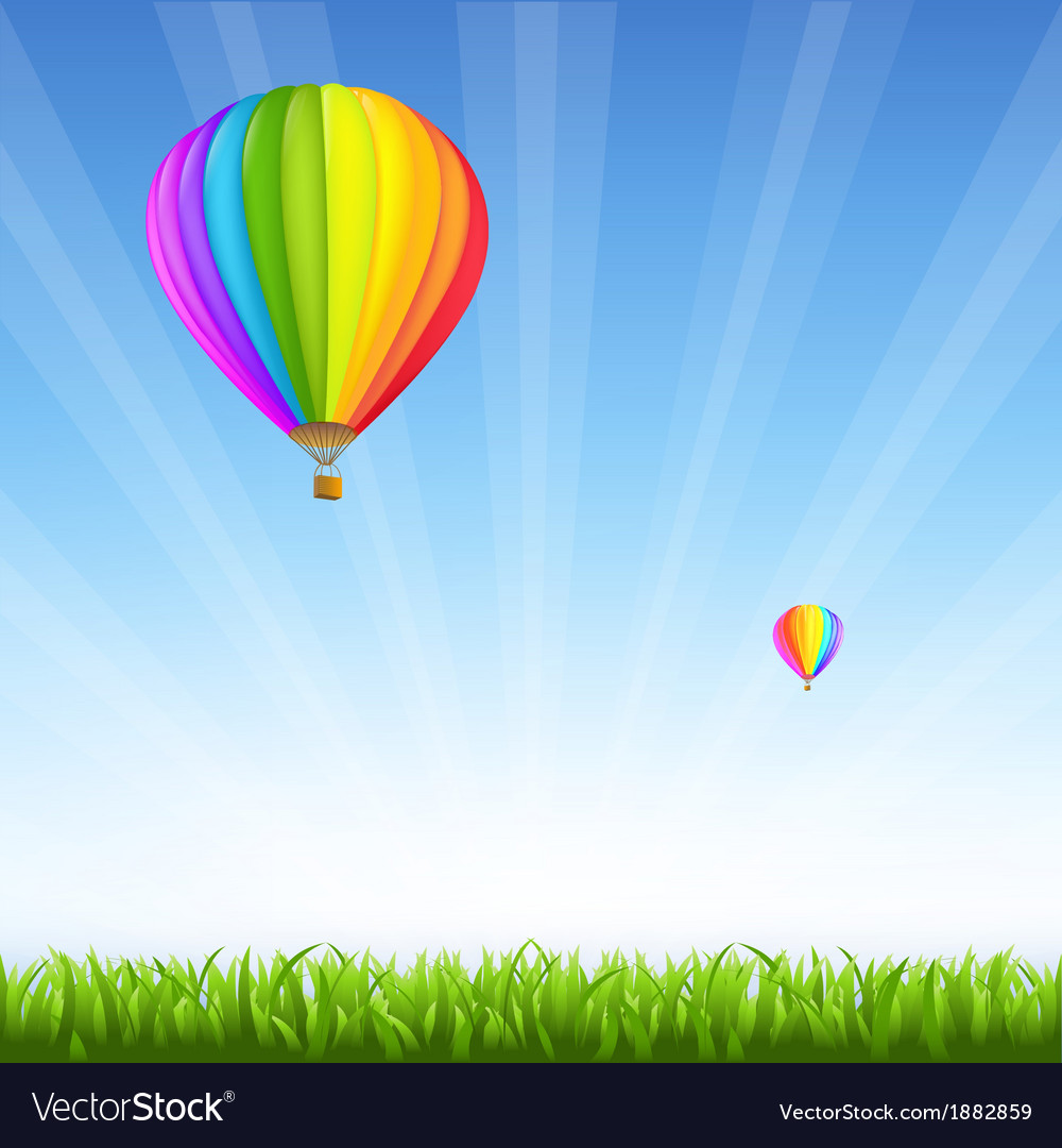Grass and two hot air balloons vector