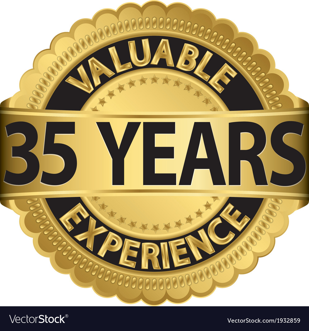 Valuable 35 years of experience golden label with vector