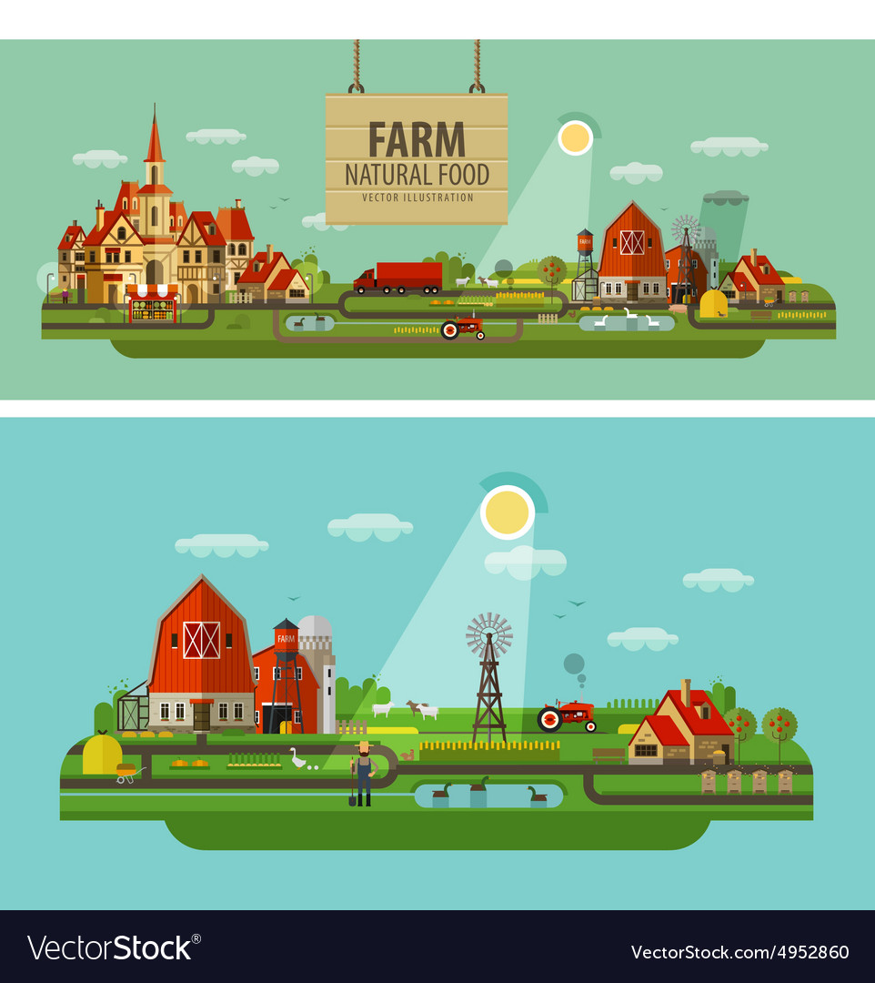 Farm and city set of elements  tractor farmer vector