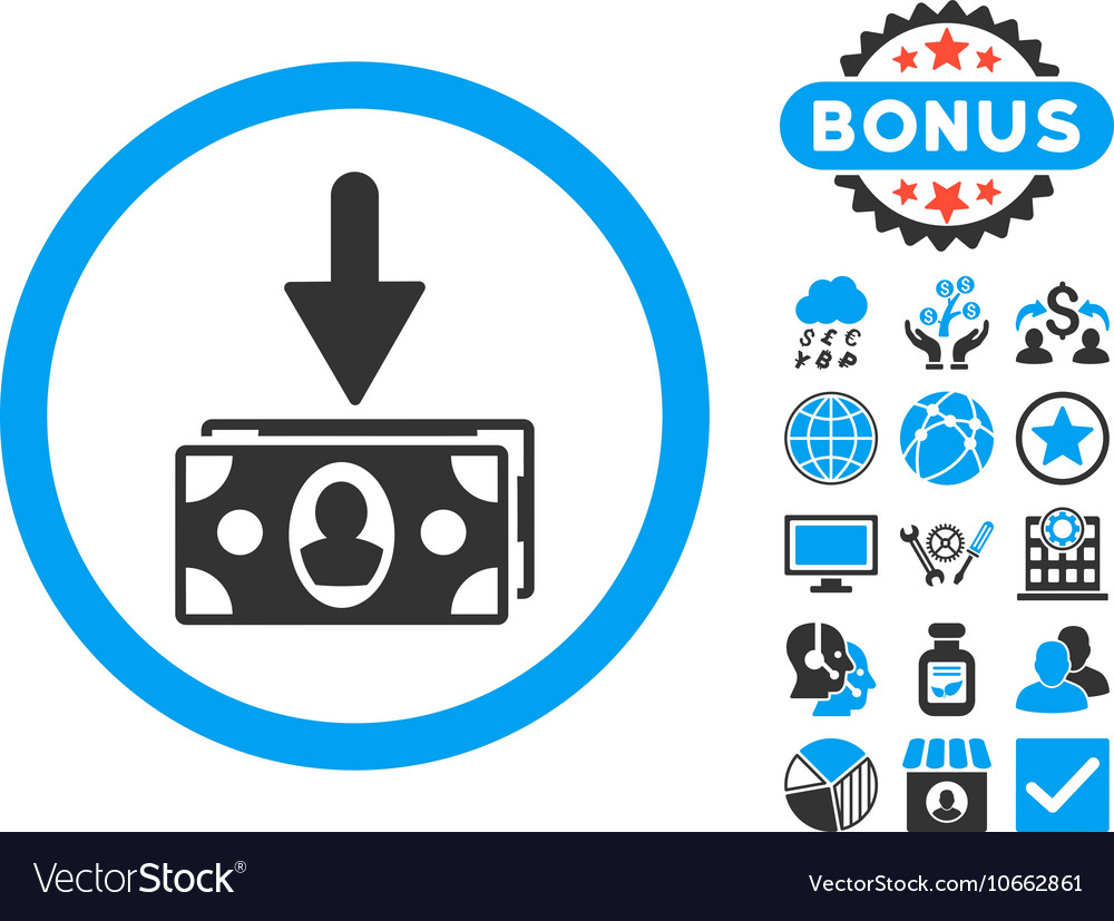 Banknotes income flat icon with bonus vector