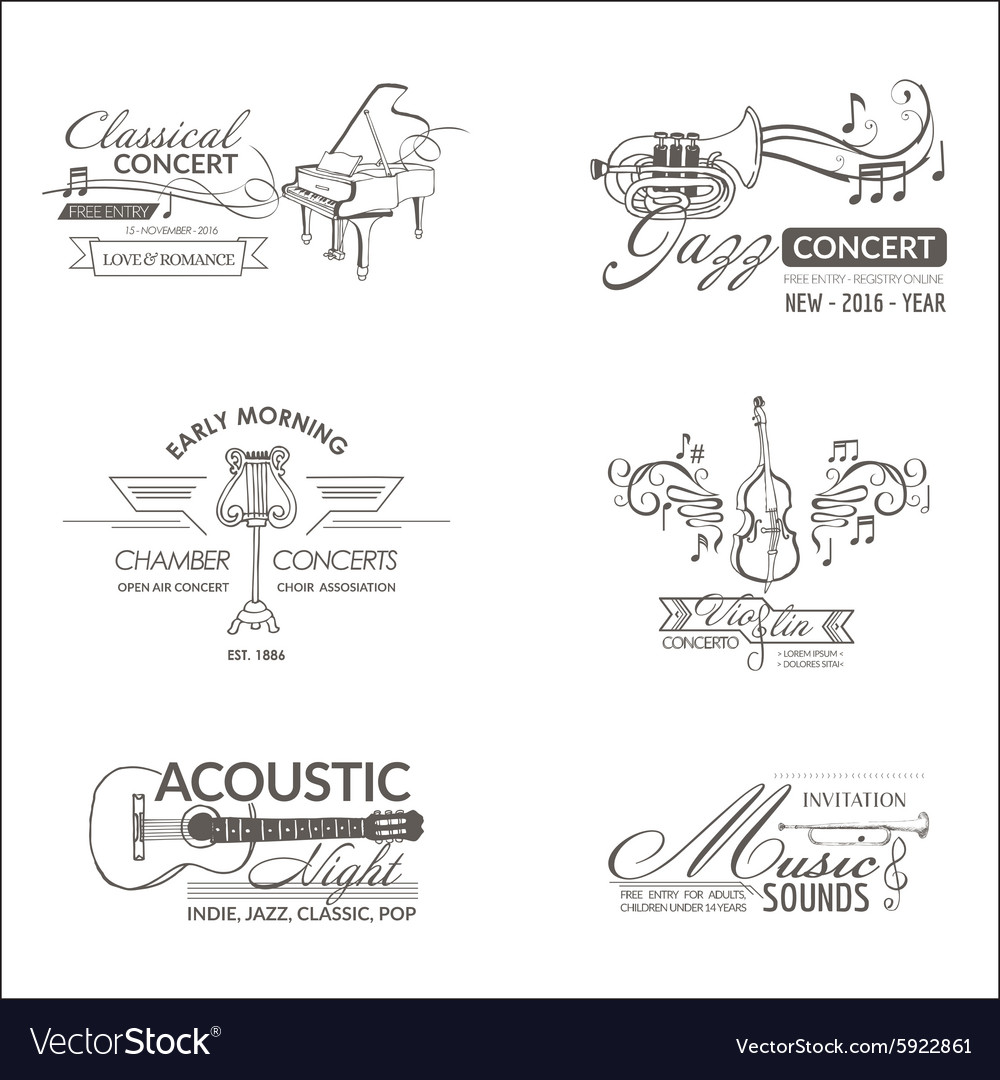 Music and instruments  badges logotypes vector