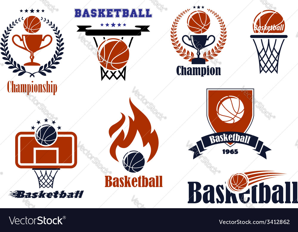 Basketball game emblems and banners vector