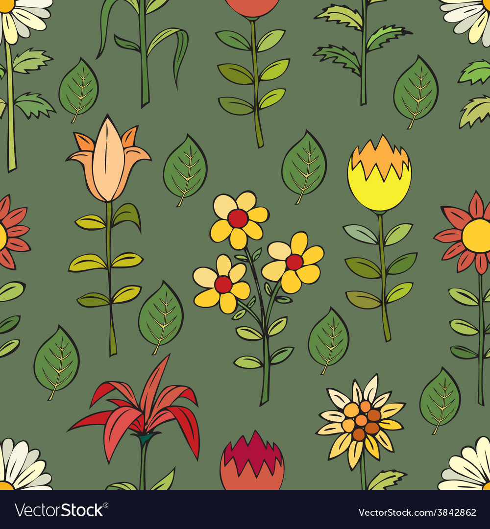 Various summer flowers vector