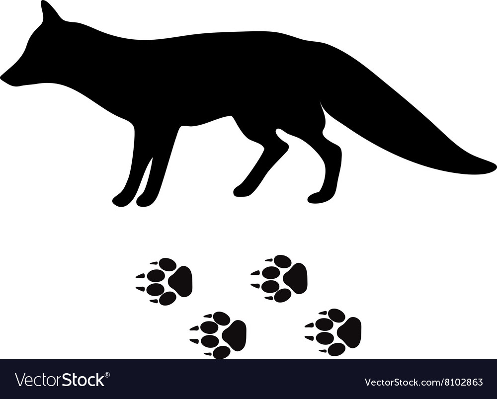 Black silhouette fox wild animal zoo vector