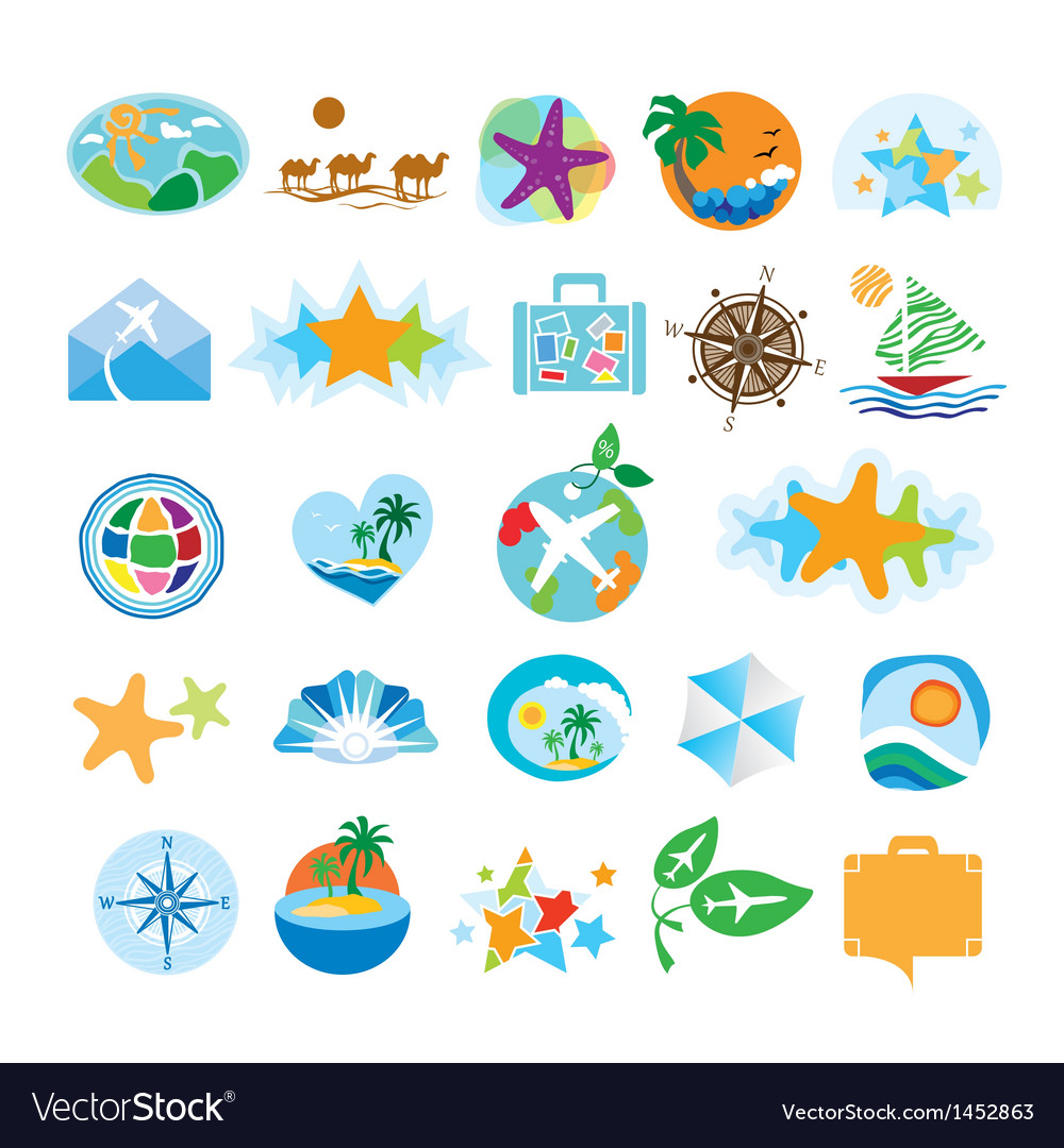 Collection of icons for the travel and tourism vector