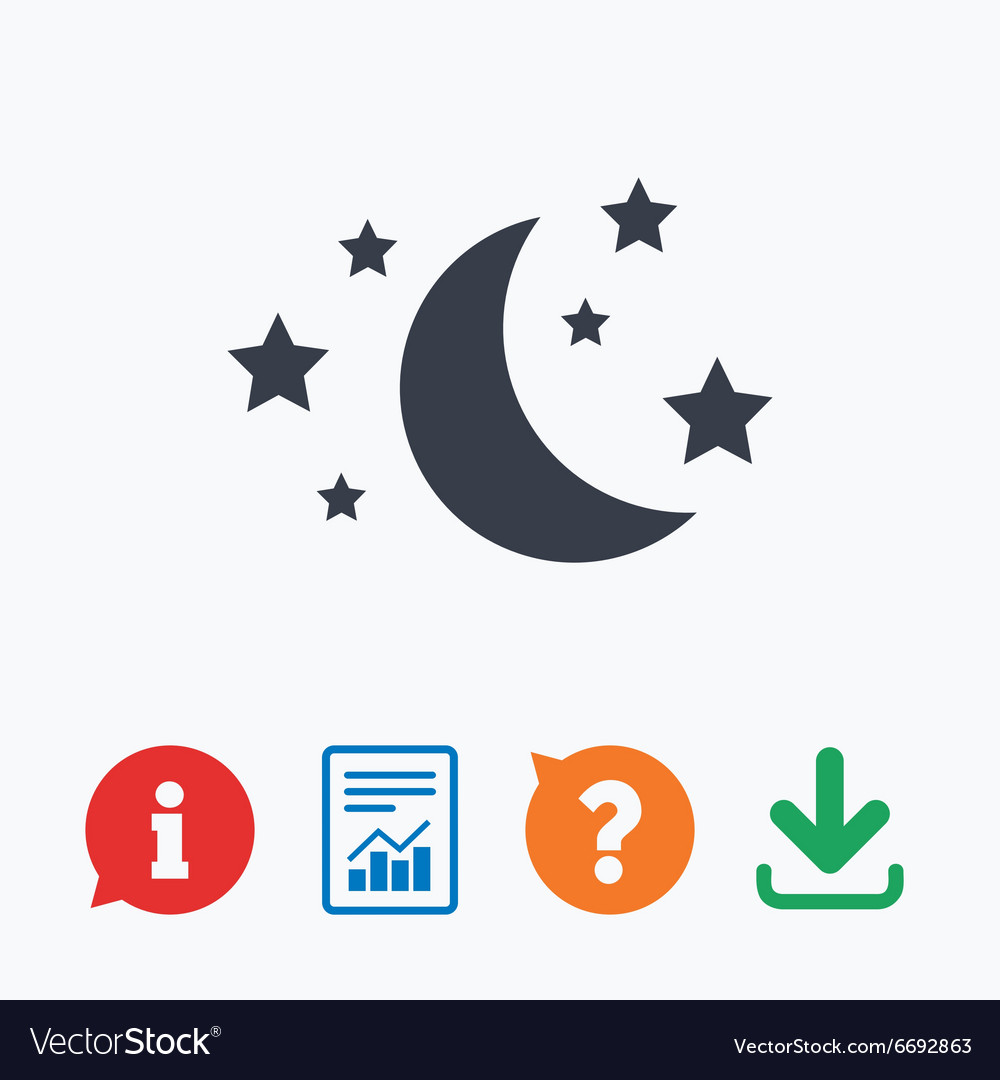 Moon and stars sign icon sleep dreams symbol vector